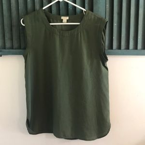 JCrew polyester tank olive green size s